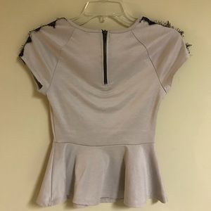 grass collection Tops - Beige Short Sleeve Blouse